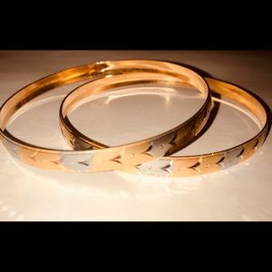 Jewelry - SOLD Gold Plated & Silver Bangle Set
